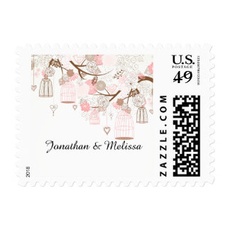 Bird Cages and Flowers Tree Branch Stamps