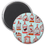 Bird Cages on Blue 2 Inch Round Magnet