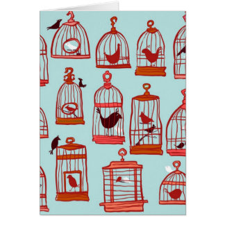 Bird Cages on Blue Card