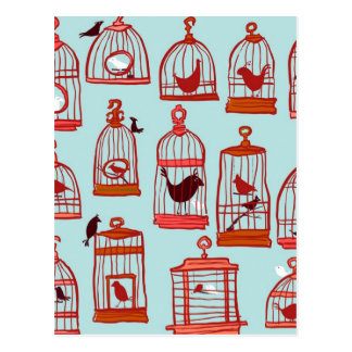 Bird Cages on Blue Post Card