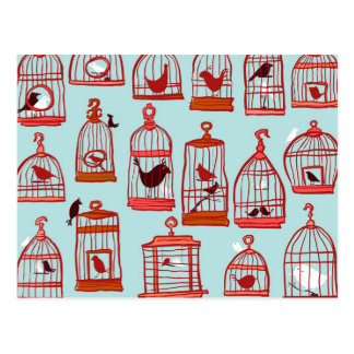 Bird Cages on Blue Postcard