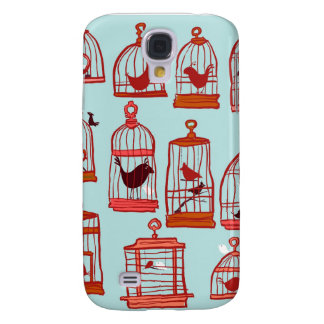 Bird Cages on Blue Samsung Galaxy S4 Cases
