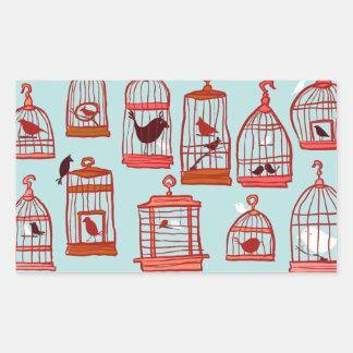 Bird Cages on Blue Rectangular Sticker