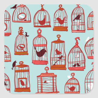 Bird Cages on Blue Square Sticker