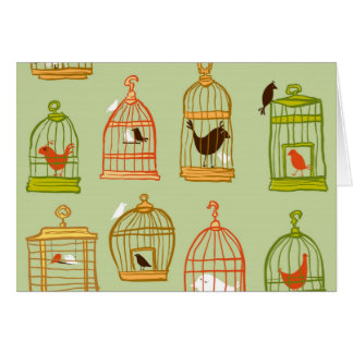 Bird Cages on Green Greeting Cards
