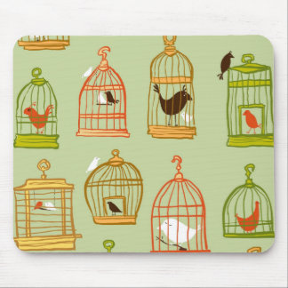 Bird Cages on Green Mouse Pad