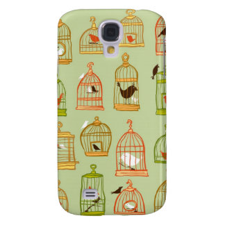 Bird Cages on Green Samsung Galaxy S4 Cover
