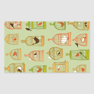 Bird Cages on Green Rectangle Stickers