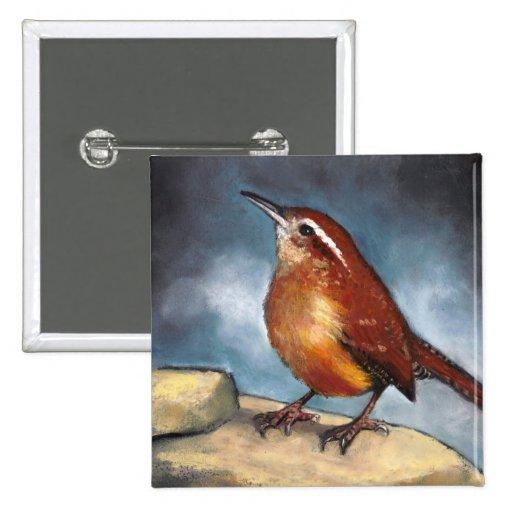 Bird: Carolina Wren in Pastel: Wildlife Art Pinback Button