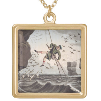 Bird Catching from Above, engraved by Matthew Dubo Gold Plated Necklace