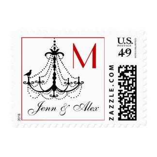 Bird Chandelier Monogram Names Postage Stamps Red