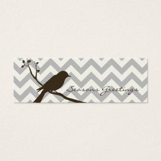 Bird Chevron Gift Tags, Profile Cards (grey)