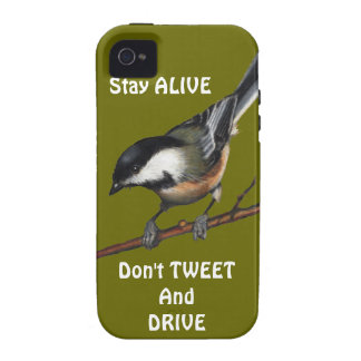 Bird Chickadee Don t Text Drive Preserve Life Case-Mate iPhone 4 Cover