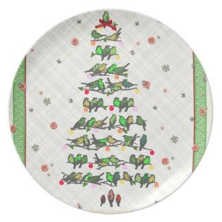 Bird Christmas Tree Dinner Plate