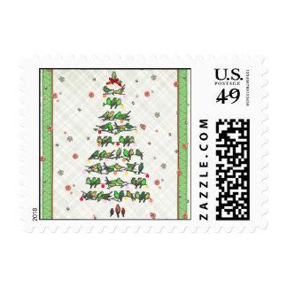 Bird Christmas Tree Postage Stamps