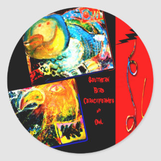 Bird Coraciiformes & Owl Classic Round Sticker