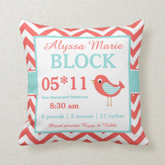 Bird Coral Turquoise Baby Announcement Pillow