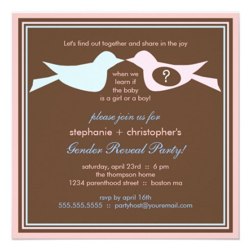 Bird Couple Baby Gender Reveal Party Personalized Invitations