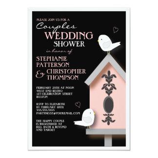 "Bird Couple Damask Birdhouse Couples Shower 5"" X 7"" Invitation Card"