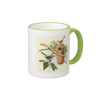 Bird Couple on a Nest Perched on a Branch Mug