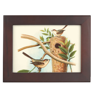 Bird Couple on a Nest Perched on a Branch Memory Boxes