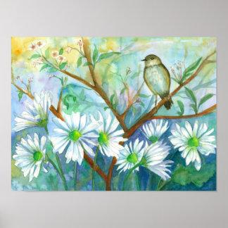 Bird Daisy Garden Nature Watercolor Painting Poster