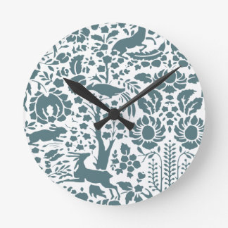 Bird, Deer, tree folk pattern Round Clock