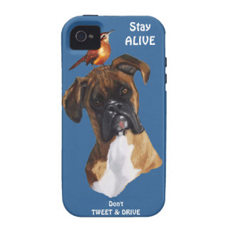 Bird: DOG: BOXER: Don't Tweet & Drive: Stay Alive Vibe iPhone 4 Case