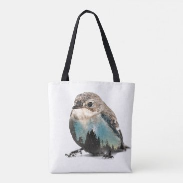 Art Themed Bird Double Exposure Tote Bag