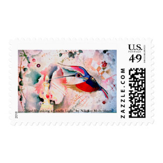 BIRD DRINKING a CANDLE LIGHT. Moltchanoph Inc. Stamp