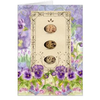 Bird Egg Purple Pansy Botanical Flower Art Card