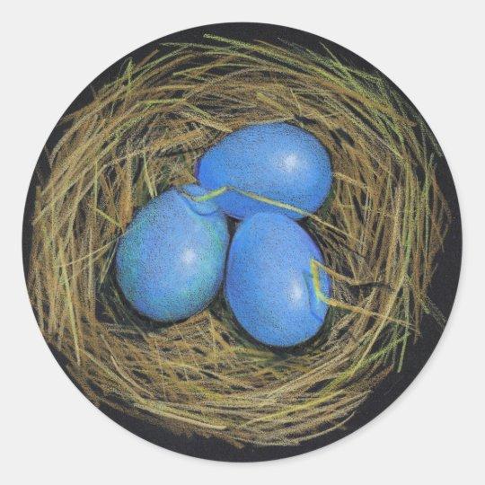 BIRD EGGS IN NEST: REALISM ART: STICKERS