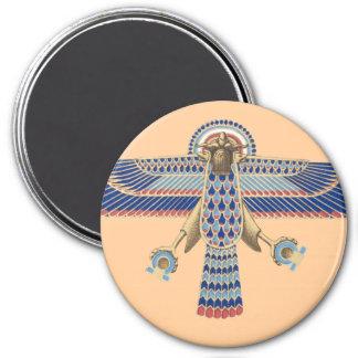 Bird Egyptian Symbol Horus Omega Blue Gold Ancient 3 Inch Round Magnet