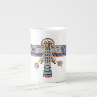 Bird Egyptian Symbol Horus Omega Blue Gold Ancient Porcelain Mug