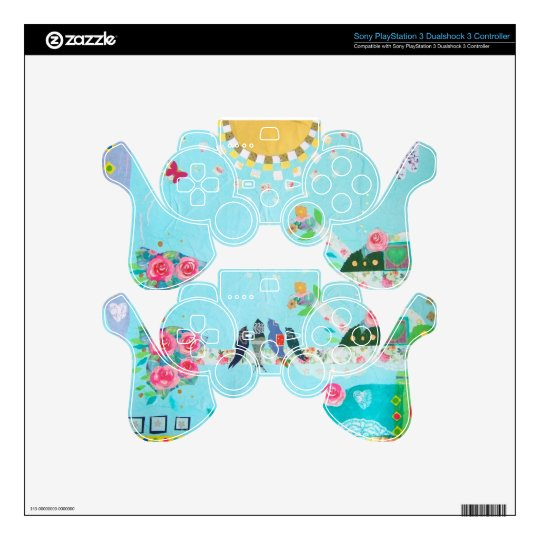 Bird Family Art Collage Decal For PS3 Controller