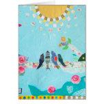 Bird Family Art Collage Greeting Card