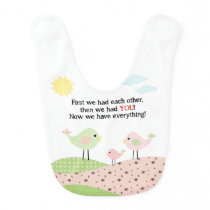Bird family baby bib