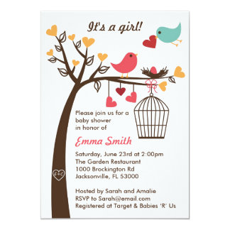 Bird Family Baby Shower Invitation