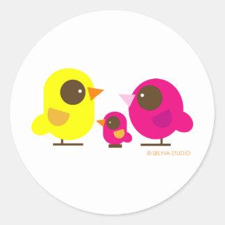 bird family classic round sticker