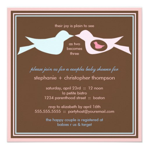 Bird Family Couples Baby Shower Invitations