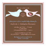 Bird Family Couples Baby Shower 5.25x5.25 Square Paper Invitation Card
