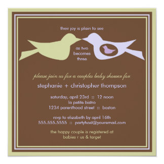 Bird Family Couples Baby Shower Lilac & Sage Invites