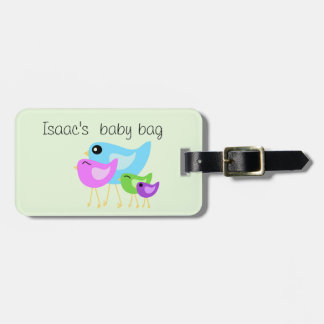 Bird family luggage tag