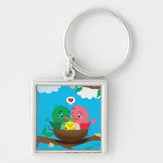 Bird Family Square Keychain