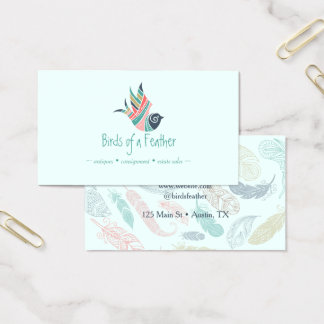 Bird Feathers Logo Bohemian Country Artistic Business Card