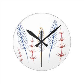 Bird Feathers Round Clock