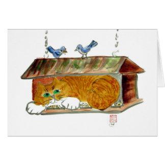 Bird Feeder and Orange Tiger Cat Card