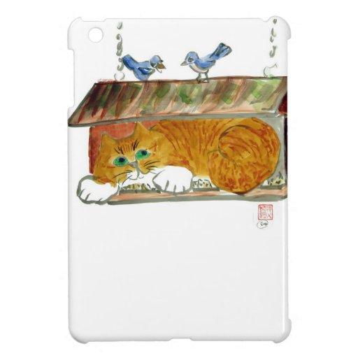 Bird Feeder and Orange Tiger Cat Case For The iPad Mini
