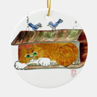 Bird Feeder and Orange Tiger Cat Ceramic Ornament