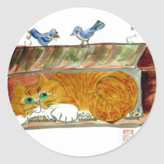 Bird Feeder and Orange Tiger Cat Classic Round Sticker